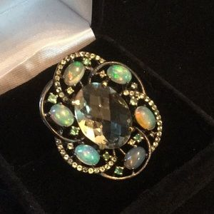 Mysterious Genuine Opals & Green Amethyst Ring